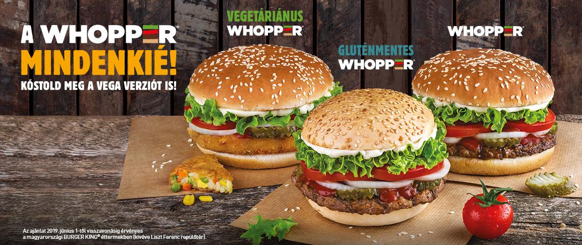 Whopper klasszikus, gluténmentes vagy vegetáriánus változatban