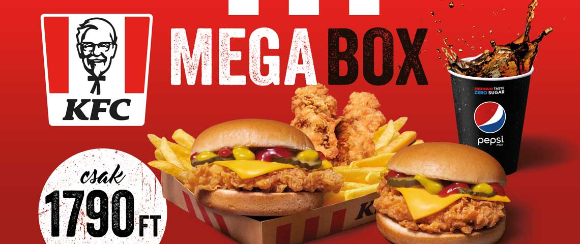 KFC ➤ Kiadós Mega Box az összes KFC bestsellerrel!